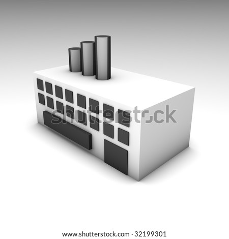 Factory or Warehouse Building as a 3D