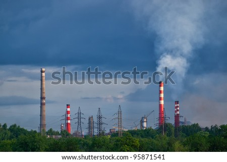 Factory pipe with a smoke and electric mains