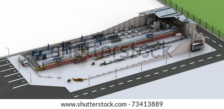 Factory Production Line. Isometric high resolution 3D rendered image.