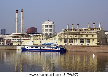 Factory, ship and Moscow river