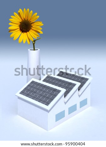 factory with solar panels and a sunflower in the chimney, 3d illustration