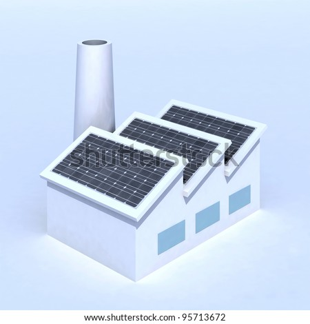 Factory with solar panels 3d illustration