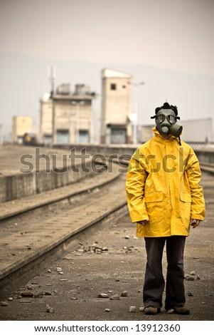 Factory worker standing still