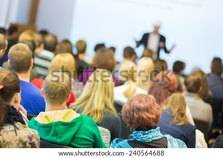 Faculty lecture and workshop. Audience at the lecture hall. Academic education.