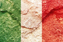 Faded Italy national flag icon isolated on weathered strong rock wall background, positive Italian political concept texture wallpaper
