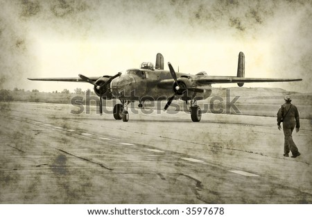 Faded photo of bomber and pilot (rendering)