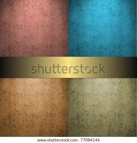faded warm brown and blue earth and sky tone background with light gold ribbon and vintage grunge texture and dark black corners with copy space