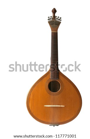 Fado typical portuguese guitar on white background