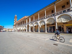 Faenza, Ravenna, Emilia-Romagna, Italy: Piazza del Popolo (People's Square), the medieval palace, the cathedral. Faenza is famous for the artistic ceramics pottery. gimabl pan cinematic