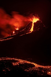 Fagradalsfjall volcanic eruption at night in Reykjanes peninsula around 40 kilometres from Reykjavik, Iceland