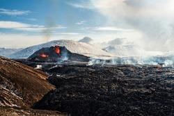 Fagradalsfjall volcanic eruption in Reykjanes peninsula around 40 kilometres from Reykjavik, Iceland