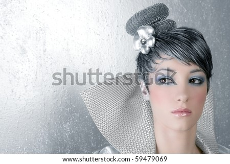 fahion makeup hairstyle woman futuristic trendy silver portrait