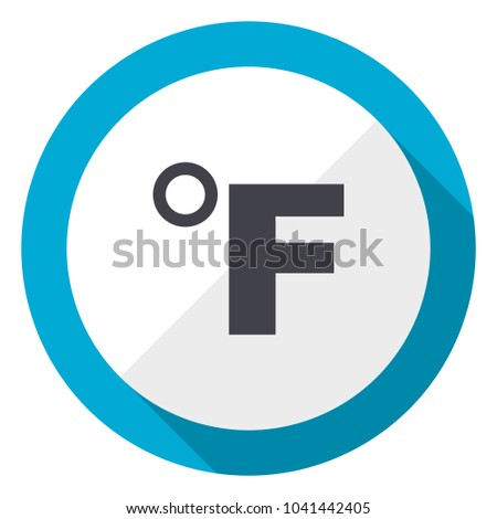 Fahrenheit blue flat design web icon