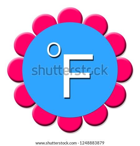 Fahrenheit button isolated. 3d illustration