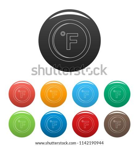 Fahrenheit icon. Outline illustration of fahrenheit icons set color isolated on white