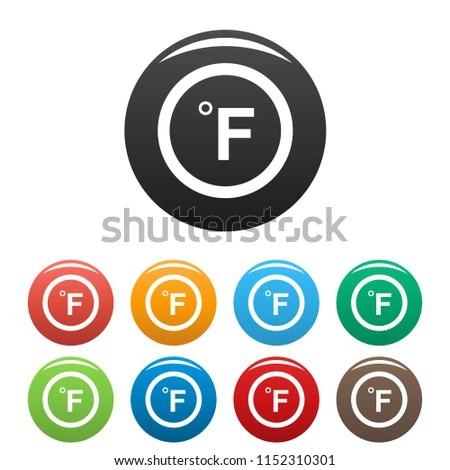 Fahrenheit icon. Simple illustration of fahrenheit icons set color isolated on white