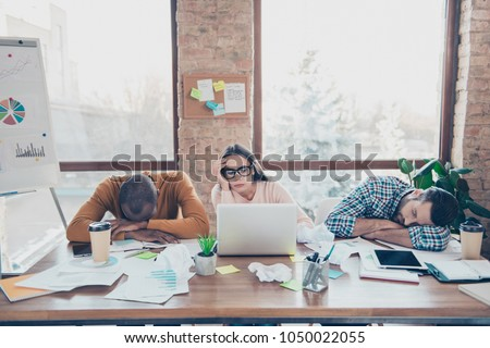 Fail lazy layabour partners highschool college start-up non-initiative daydream browsing computer laptop read internet concept. Three trio sad exhausted sleepy busy overworked managers having a nap