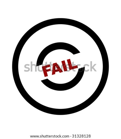 Fail stamp in black circle, isolated on white background.