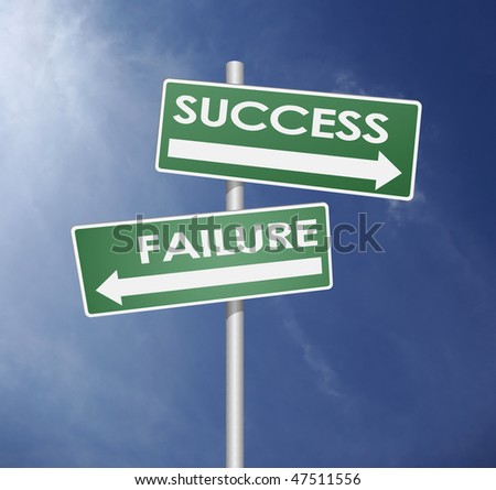failure and success direction with arrow in blue sky background