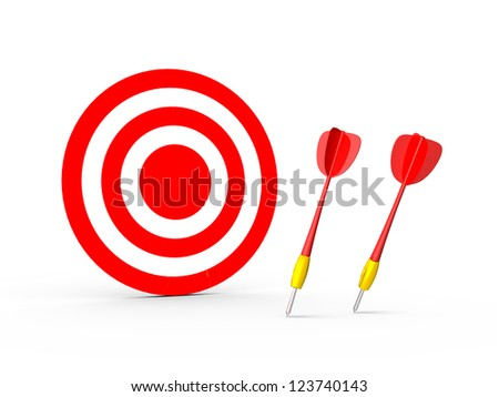 Failure of the red plastic arrows and red target standing, isolated on white background.