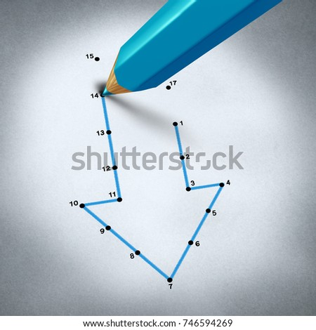 Failure strategy and business decline challenge as a pencil connecting the dots to reveal a decline arrow as a financial metaphor for economic crisis as a 3D render.