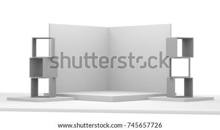 Fair trade empty mock-up stand. Customizable wall display template. 3D rendering