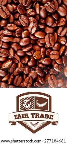 Fair Trade graphic against close up of coffee seeds