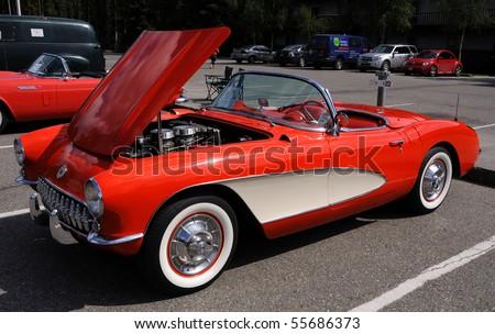 FAIRBANKS, AK - JUNE 19: 1957 Chevy Corvette, 2010 Alaska Midnight Sun Cruise-In Auto Show June 19, 2010 in Fairbanks, Alaska