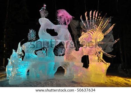 """FAIRBANKS, AK - MARCH 9:  """"Saltwater Safari"""" Ice Sculpture, 2010 World Ice Art Championships March 9, 2010 in Fairbanks, Alaska"""