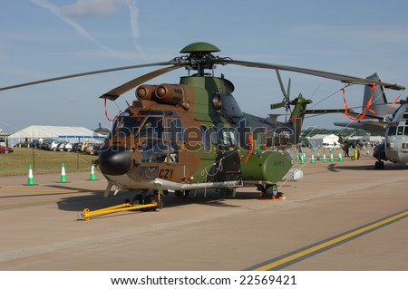FAIRFORD, UK - JULY 16: French Army SA 330 Puma Helicopter static display during the Royal International Air Tattoo on July 16, 2005 in Fairford, UK.