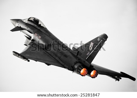 FAIRFORD, UNITED KINGDOM - JULY 14: A Eurofighter demonstrates its abilities at the Royal International Air Tattoo July 14 and 15, 2007 in Fairford.