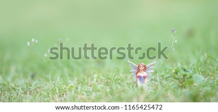 Fairy. A magical winged fairy sitting in the garden with soft focus and shallow depth of field. For banner. Bed time story and fairytales concept.
