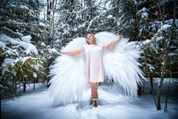Fairy angel in the forest with snow and snowdrifts on winter day