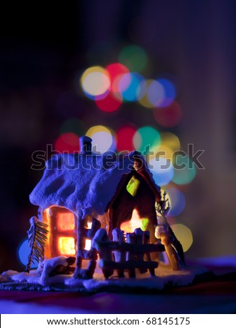 fairy Christmas house cake with candle light inside and nice background lights
