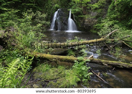 Fairy Glen woodland walk and waterfalls at Rosemarkie Black Isle Scotland Uk - stock photo