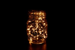 Fairy Light in a Glass Jar, in the Dark, Low-Key Photography