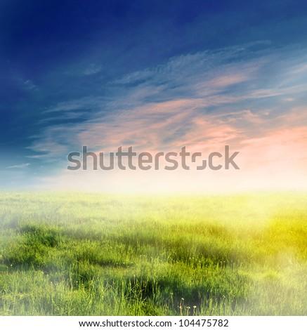 Fairy, magical landscape with sunrise fog. Morning sky and sun.