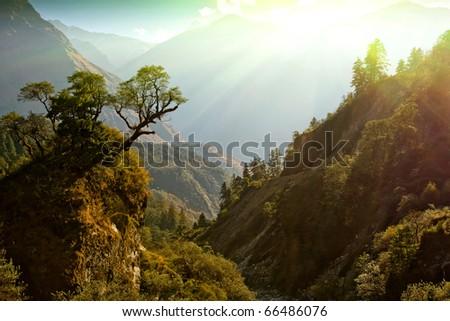 fairy morning sunlight on beautiful himalaya landscape - stock photo
