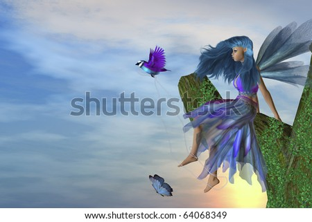 Fairy sitting on a tree with a bird and butterfly
