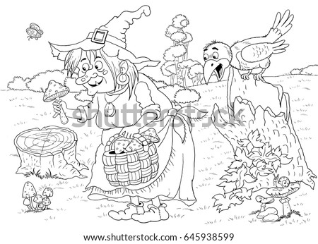 Fairy tale. A cute witch picking mushrooms and her crow. Coloring book. Coloring page. Cute and funny cartoon characters