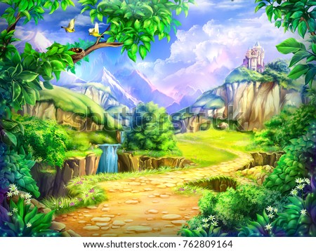 Fairy tale, cartoon background, digital art. Illustration of a fairytale castle, road, mountains and waterfalls. Can be used as location for games or illustration for books