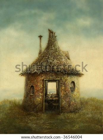 Fairy tale house, painted with acrylic on paper
