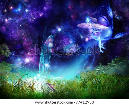 Fairy-tale picture - an elf on an insect flies away from a glade