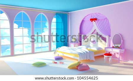 Fairy tale princess room. The pink bedroom girl with colorful pillows and large windows. In the windows of the cloud.