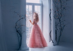 Fairy tale woman princess turned away enjoy view from window. Beautiful carnival pink air tulle lush full gown. Blond long wavy hair royal crown back, rear view. white antique columns black tree room