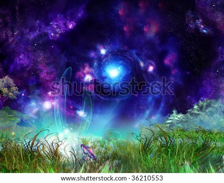 Fairy-tale wonderful background, picture of the nightly misterios lighted up glade