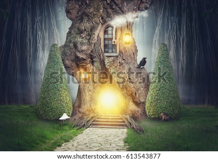 Fairy tree house in dark spooky fantasy forest