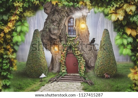 Fairy tree house in fantasy forest with stone road #1127415287