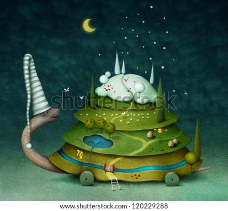 Fairy turtle, illustration or postcard or poster with the sleeping turtle and seasons. Computer graphics