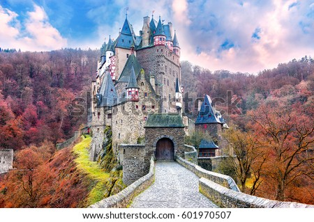 Fairytale castle entrance fantasy landscape